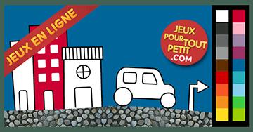 Jeux de coloriage en ligne pour petit: Peindre la voiture dans la ville!