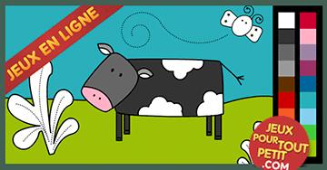 jeux de coloriage en ligne pour petit vache pour colorier les petits jouent accompagn s par. Black Bedroom Furniture Sets. Home Design Ideas