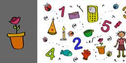 Les enfants jouent, accompagnés par les mamans et les papás. Jeux pour tout petits: À rechercher! Les numéros et les objets.