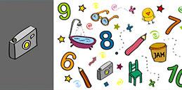 Les enfants jouent, accompagnés par les mamans et les papás. Jeux pour tout petits: À rechercher! Les numéros 6,7,8,9,10 et les objets.