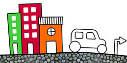Jeux de coloriage en ligne: Peindre la voiture dans la ville! Les petits jouent, accompagnés par les mamans et les papás :)