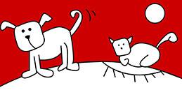 Jeux de coloriage en ligne: Peindre le chien et le chat!