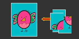 Jeux puzzle gratuit pour tout petit 3 ans: L'oiseau. Les enfants jouent, accompagnés par les mamans et les papás